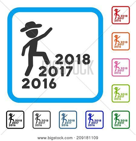 Gentleman Steps Years From 2016 To 2018 icon. Flat gray pictogram symbol in a light blue rounded rectangular frame. Black, gray, green, blue, red,