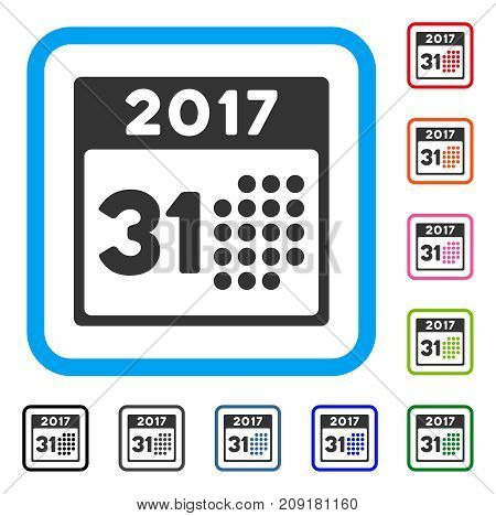 Last 2017 Month Day icon. Flat gray pictogram symbol inside a light blue rounded squared frame. Black, gray, green, blue, red, orange color variants of Last 2017 Month Day vector.