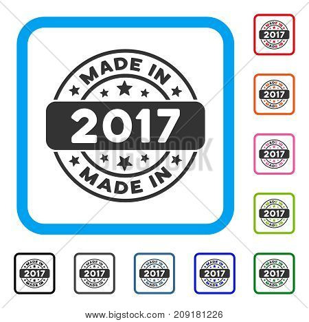 Made In 2017 Stamp icon. Flat gray iconic symbol inside a light blue rounded square. Black, gray, green, blue, red, orange color versions of Made In 2017 Stamp vector.