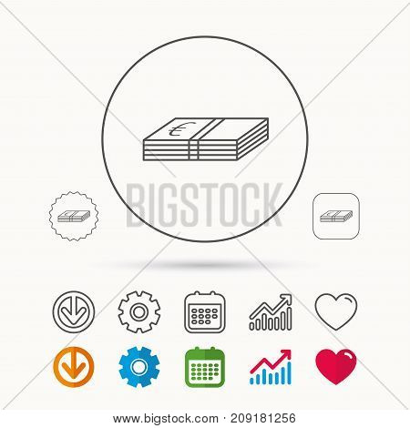 Cash icon. Euro money sign. EUR currency symbol. Calendar, Graph chart and Cogwheel signs. Download and Heart love linear web icons. Vector