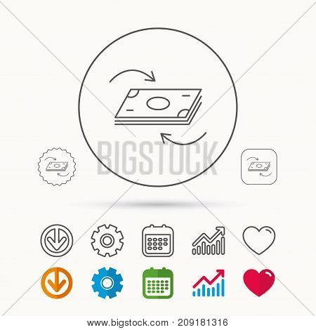 Money flow icon. Cash investment sign. Currency exchange symbol. Calendar, Graph chart and Cogwheel signs. Download and Heart love linear web icons. Vector