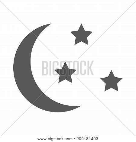 Sleep icon. Moon and stars sign. Night or bed time icon vector simple isolated on white background