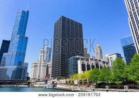 CHICAGO MAY 12: Downtown Chicago as seen from the Chicago River on May 12 2017