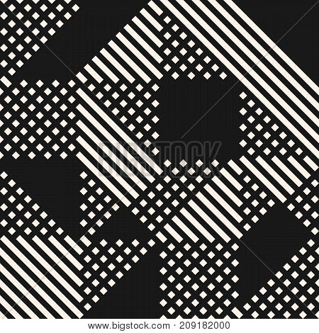 Vector geometric lines pattern. Abstract graphic ornament with stripes and squares. Black and white urban texture. Modern stylish linear background. Stripes pattern. Geometric pattern. Ornamental pattern. Design pattern. Urbam pattern. Mesh pattern.