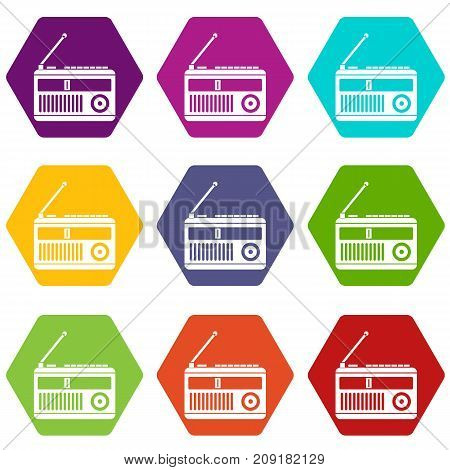 Retro radio icon set many color hexahedron isolated on white vector illustration