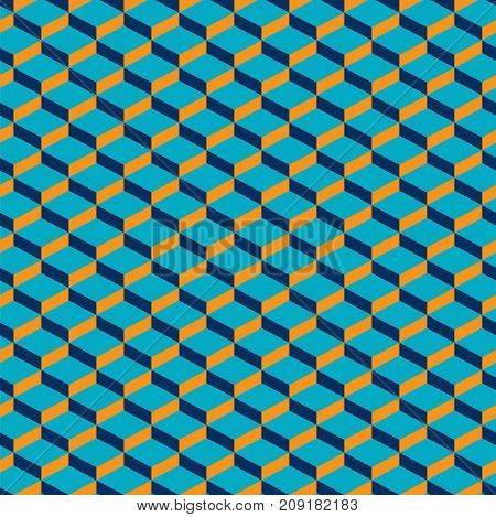 Seamless abstract geometric cubes optical illusion pattern texture. Turquoise and grey pattern.