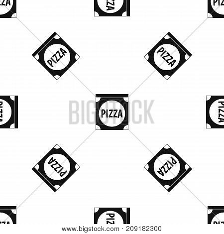 Pizza box cover pattern repeat seamless in black color for any design. Vector geometric illustration