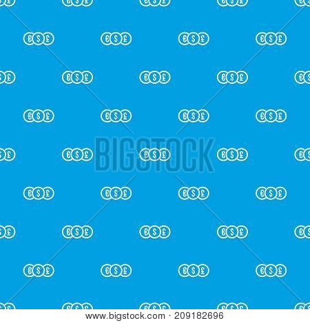 Euro, dollar, pound coin pattern repeat seamless in blue color for any design. Vector geometric illustration
