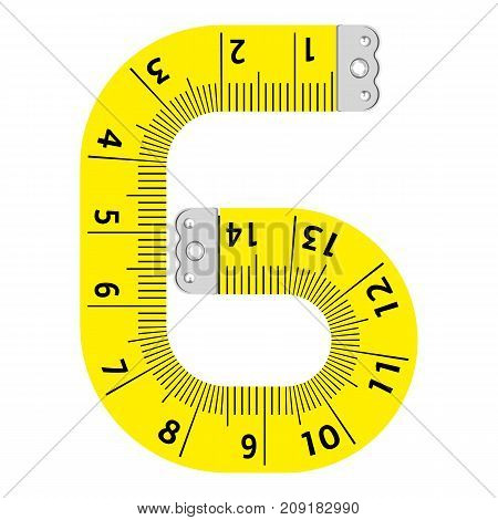 Number six ruler icon. Cartoon illustration of number six ruler vector icon for web