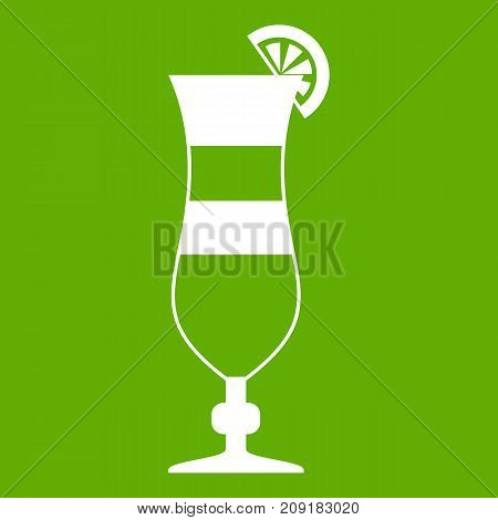 Cocktail icon white isolated on green background. Vector illustration