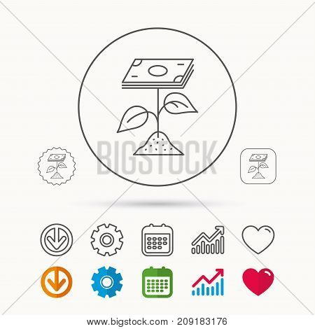 Profit icon. Money savings sign. Flower with cash money symbol. Calendar, Graph chart and Cogwheel signs. Download and Heart love linear web icons. Vector