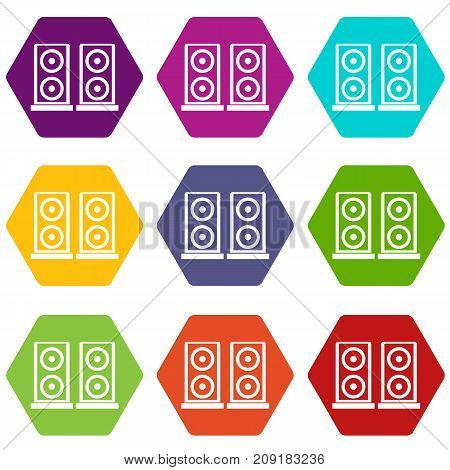 Music speakers icon set many color hexahedron isolated on white vector illustration