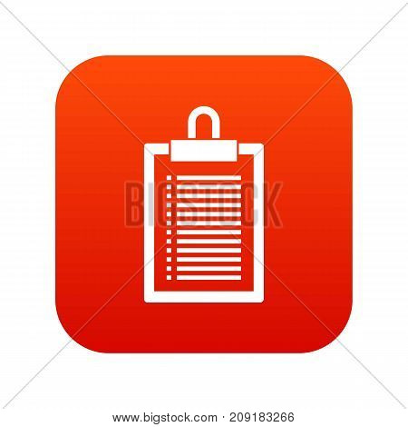 Document plan icon digital red for any design isolated on white vector illustration