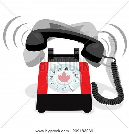 Ringing black stationary phone with flag of Canada. Vector illustration.