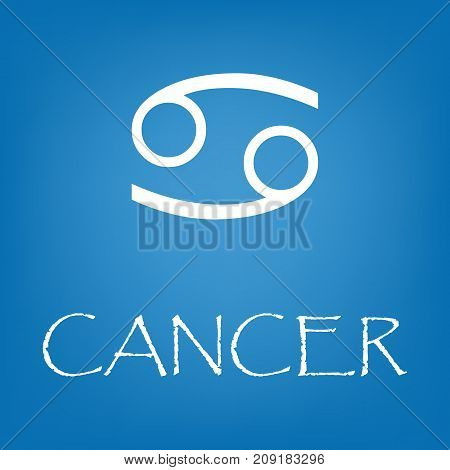 Cancer zodiac sign icon. Vector simple illustration of Cancer zodiac sign icon on blue background for any web design