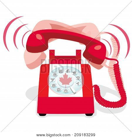 Ringing red stationary phone with flag of Canada. Vector illustration.