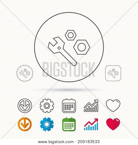 Repair icon. Spanner tool with screw-nut sign. Calendar, Graph chart and Cogwheel signs. Download and Heart love linear web icons. Vector