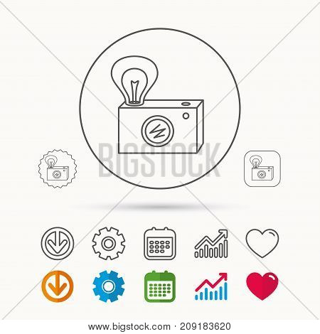 Retro photo camera icon. Photographer equipment sign. Camera with lamp flash. Calendar, Graph chart and Cogwheel signs. Download and Heart love linear web icons. Vector