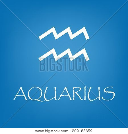 Aquarius zodiac sign icon. Vector simple illustration of Aquarius zodiac sign icon on blue background for any web design