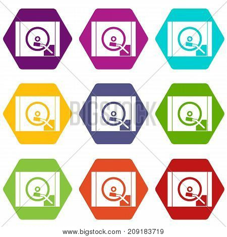 Turntable icon set many color hexahedron isolated on white vector illustration