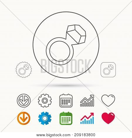 Ring with diamond icon. Jewellery sign. Calendar, Graph chart and Cogwheel signs. Download and Heart love linear web icons. Vector