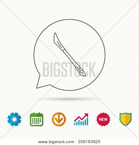 Scalpel icon. Surgeon tool sign. Calendar, Graph chart and Cogwheel signs. Download and Shield web icons. Vector