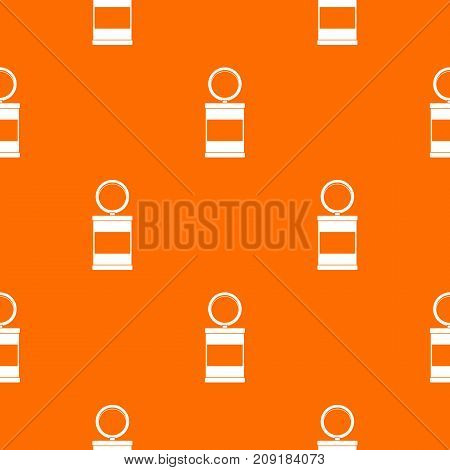 Trash can with pedal pattern repeat seamless in orange color for any design. Vector geometric illustration