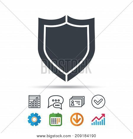 Shield protection icon. Defense equipment symbol. Statistics chart, chat speech bubble and contacts signs. Check web icon. Vector