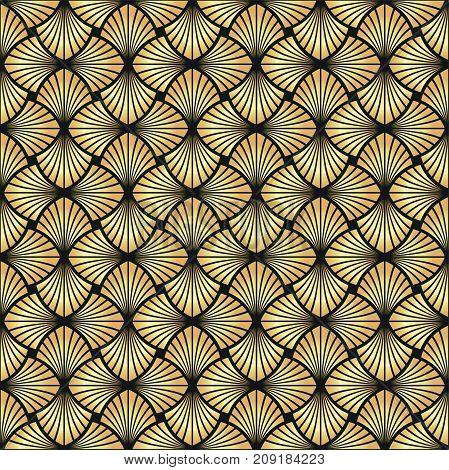 Seamless golden Art Deco vector vintage pattern background