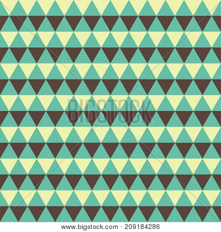 Seamless vintage triangle pattern background in green and beige