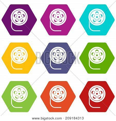 Reel with film icon set many color hexahedron isolated on white vector illustration