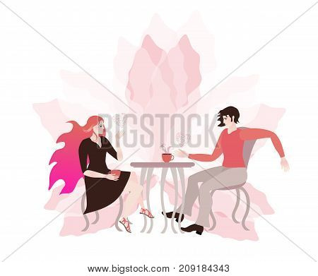 Young couple chatting in a cafe. Romantic card. Light pink flower and hearts symbolizing love.