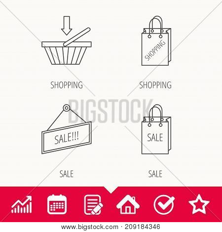 Shopping cart, sale bag icons. Sale label linear sign. Edit document, Calendar and Graph chart signs. Star, Check and House web icons. Vector