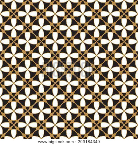 Seamless vintage ornamental pattern background in gold, black and white.