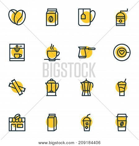 Editable Pack Of Coffeemaker, Cup, Sweetener And Other Elements.  Vector Illustration Of 16 Coffee Icons.