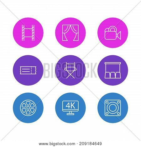 Editable Pack Of Loudspeaker, Coupon, Shooting Seat And Other Elements.  Vector Illustration Of 9 Film Icons.