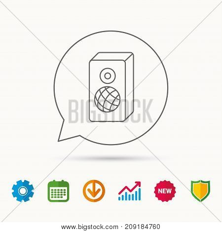 Sound icon. Musical speaker sign. Calendar, Graph chart and Cogwheel signs. Download and Shield web icons. Vector