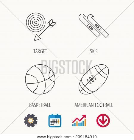 Sport fitness, skis and basketball icons. American footbal linear sign. Calendar, Graph chart and Cogwheel signs. Download colored web icon. Vector
