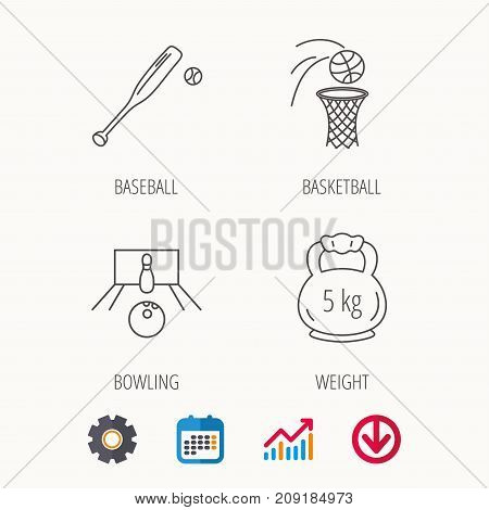 Baseball, bowling and basketball icons. Weight linear sign. Calendar, Graph chart and Cogwheel signs. Download colored web icon. Vector