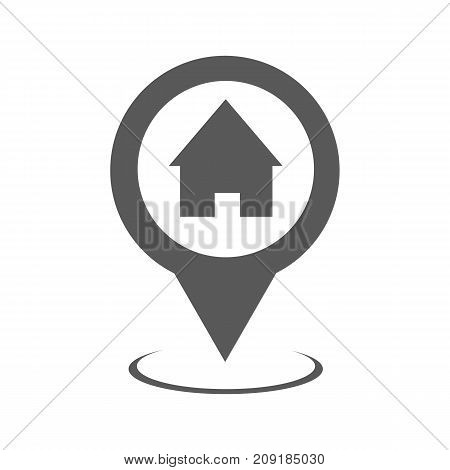 Home map pointer icon. Simple illustration of home map pointer vector icon black isolated on white background