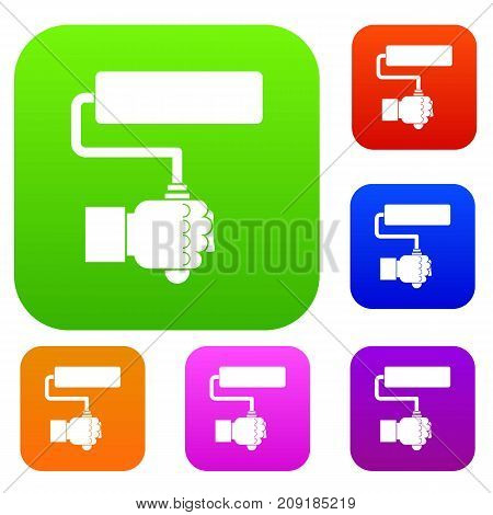 Hand hoding paint roller set icon color in flat style isolated on white. Collection sings vector illustration