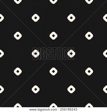 Vintage seamless pattern with small circles, perforated rounded shapes. Simple stylish geometric texture. Dark monochrome polka dot background. Repeat design for decoration, fabric, cloth, covers, web.