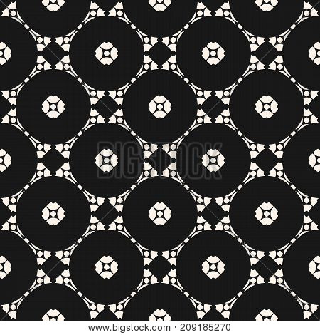 Vector ornamental geometric background with carved shapes, delicate circular lattice. Stylish pattern in Arabian style. Traditional motif in modern digital rendition. Dark monochrome seamless texture.