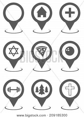 Map pointer set collection. Vector simple illustration of map pointer set isolated on white background