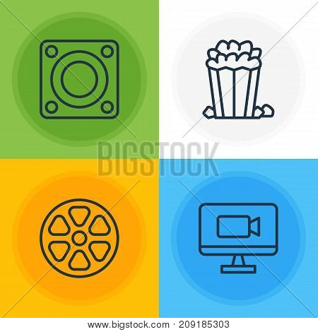 Editable Pack Of Movie Reel, Loudspeaker, Television And Other Elements.  Vector Illustration Of 4 Movie Icons.