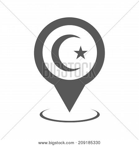 Mosque map pointer icon. Vector simple illustration of mosque map pointer icon isolated on white background