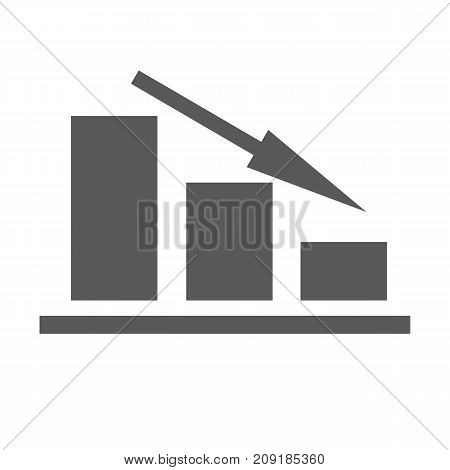 Down chart icon. Simple illustration of down chart or graph vector icon isolated on white background