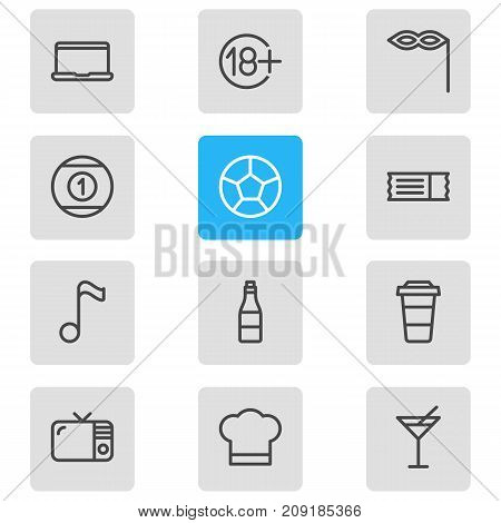 Editable Pack Of Television, Coupon, Martini And Other Elements.  Vector Illustration Of 12 Entertainment Icons.