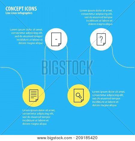 Editable Pack Of Search, Document, Question And Other Elements.  Vector Illustration Of 4 File Icons.