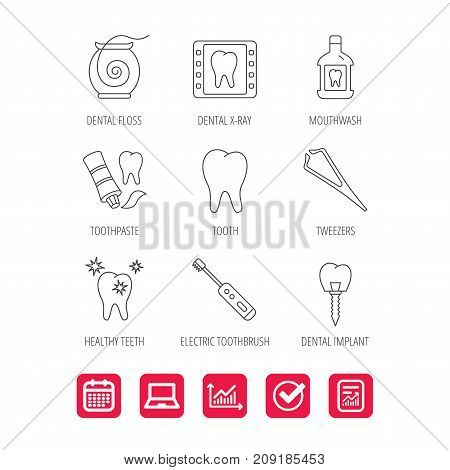 Dental floss, tooth and implant icons. Mouthwash, x-ray and toothpaste linear signs. Electric toothbrush. Report document, Graph chart and Calendar signs. Laptop and Check web icons. Vector